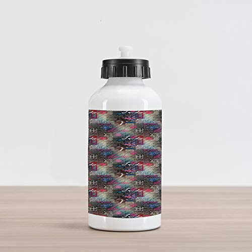 Ambesonne London Aluminum Water Bottle, Grungy Newspaper Page Style Collage Lipstick Kiss Marks Coffee Flag Telephone Booth, Aluminum Insulated Spill-Proof Travel Sports Water Bottle, Multicolor
