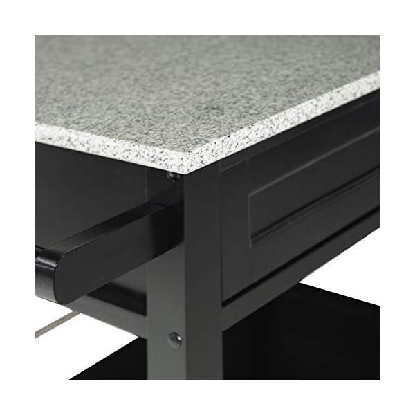 "Linon Cameron Granite Top Kitchen Cart, 36.02"" x 24.02"" x 17.99"", Black"
