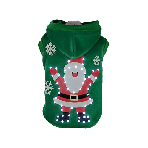 PET LIFE 'Hands Up Santa' LED Lighting Fashion Designer Holiday Christmas Pet Dog Costume Sweater Hoodie w/ Included Batteries, Small, Green