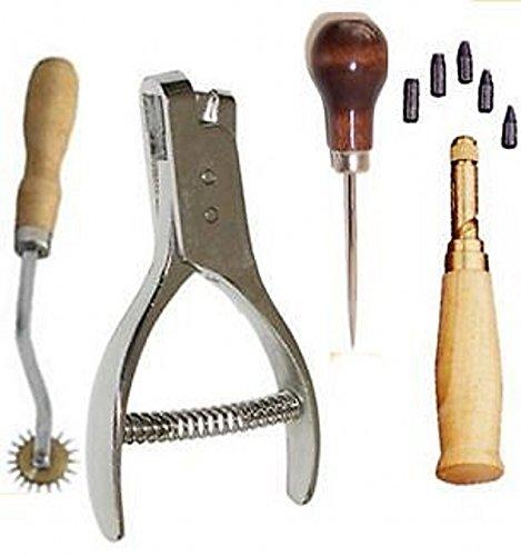 [4 Stlye Pattern Notcher ,Awl,Needle Tracer Overstitch Wheel ,Punch Drill Kit] (Needle Wheel)