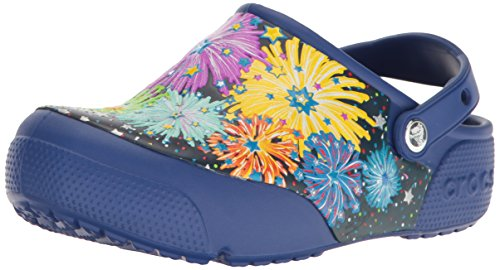 Crocs Kids' Crocsfunlab Lights Fireworks Clog, Cerulean Blue, 1 M US Little Kid by Crocs