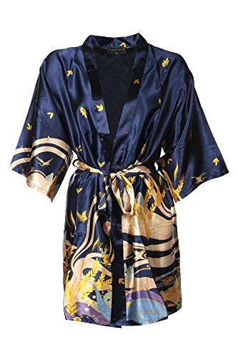 Dressing Gown for Women Satin Silk Short Kimono Robe Just Launched (Midnight Blue, X-Large)