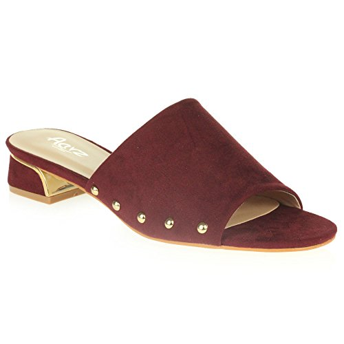 AARZ LONDON Womens Ladies Casual Mule Open Toe Soft Medium Block Heel Slip-On Party Sandal Shoes Size Maroon oqc6wRv