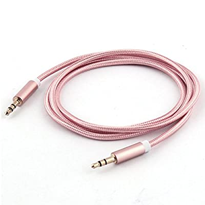 uxcell Nylon Home Car PC Computer Smartphone 3.5mm Male to Male Gold Plate Audio Cable Connector 1M Long Rose Gold Tone