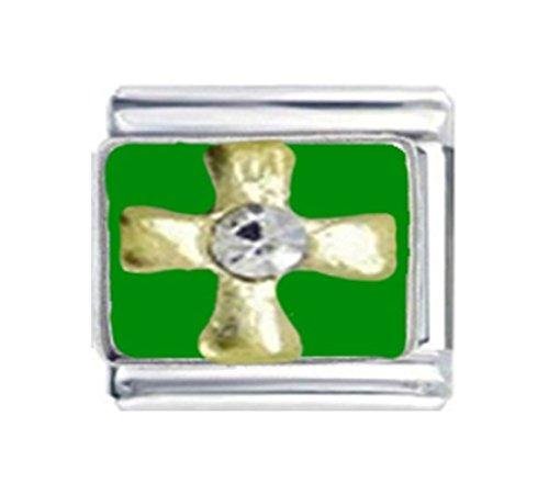 Italian Charm Cross Enamel - Stylysh Charms Celtic Cross Rhinestone Enamel Italian 9mm Link RE105