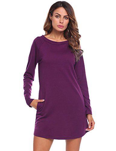 shirt Purple O Loose Casual T Neck Long Dresses Zeagoo Sleeve Pockets Fit Women's qTgOU