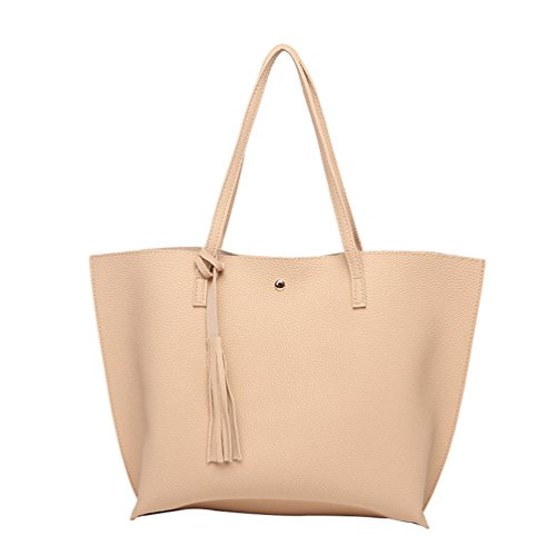 Shoulder Top Womens LINNUO with Tote Work 30cm Maternity Tassels Shopper Bag PU Bags Handle Large Leather Silver 36 for Khaki Capacity Handbags 10 dwIrxAEqr