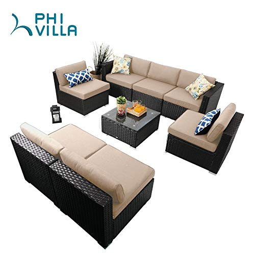 PHI VILLA Patio Furniture Set Outdoor Rattan Sectional Sofa with Tea Table (8 Piece, Beige) from PHI VILLA
