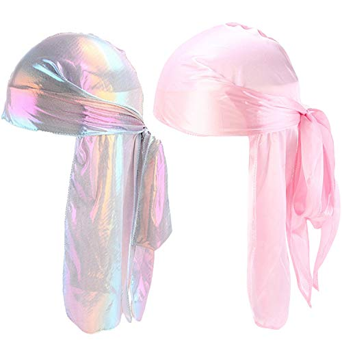 Unisex 2PCS Deluxe Silky Durag Extra Long-Tail Headwraps