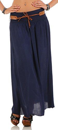 malito falda con cinturón verano tramo Maxi A-línea 17126 Mujer Talla Única azul oscuro