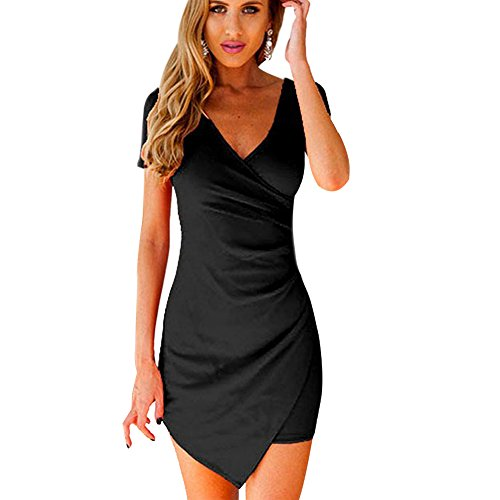 Froomer Women Slim Fitted Bodycon Mini Dress Wrap Dress Party Cocktail Dress
