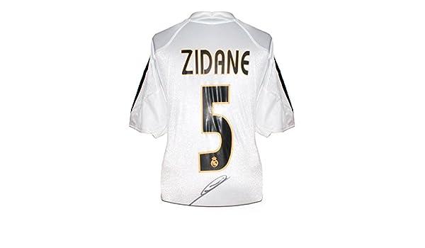 Zinedine Zidane Real Madrid 2004-05 Firmado balompié camiseta (Con Madrid Logo): Amazon.es: Deportes y aire libre