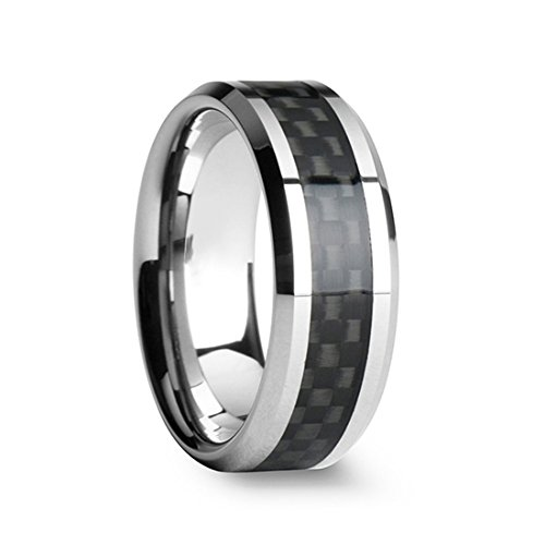 TIGRADE Titanium Wedding Rings Black Carbon Fiber Inlay for Men