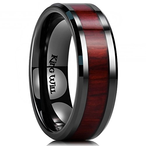 King Will Nature 7mm Black Ceramic Ring Koa Wood Inlay Wedding Band High Polished Finish Comfort Fit ()