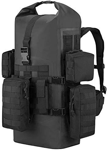 BRU Active Premium 40l Dry Bag PVC - Tactical Waterproof Backpack - Zippers, Drawstring, Heavy Duty Adjustable Straps Kayaking, Boating, Hiking, Water Sports, Fishing (Black)