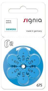 Siemens Signia Hearing Aid Battery 675, Silver (60 Pieces)