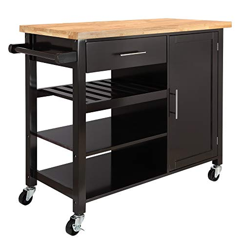 (Homegear Utility V3 Kitchen Cart with Storage Cabinet Island on Wheels Brown )