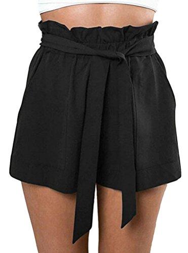 ual High Waist Ruffle Shorts Jersey Walking Shorts w/Pockets Black,M (Frill Shorts)