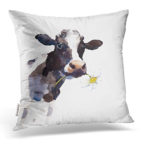Background Red Border - Emvency Throw Pillow Covers Watercolor Cow A Daisy Flower in Its Mouth Farm Animal Portrait Hand Decor Pillowcases Polyester 18 X 18 Inch Square Hidden Zipper Home Cushion Decorative Pillowcase