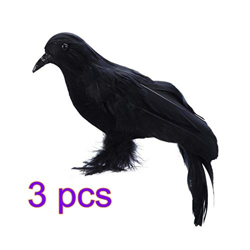 Keebgyy Halloween Black Crow, Realistic Artificial Bird Raven Prop Halloween Party Decoration for Outdoors and Indoors Crow Decoration - 3 Pieces]()