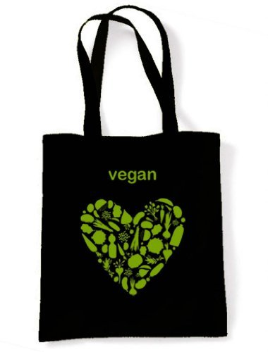 Vegan Heart Tote / Shoulder Bag (Black)