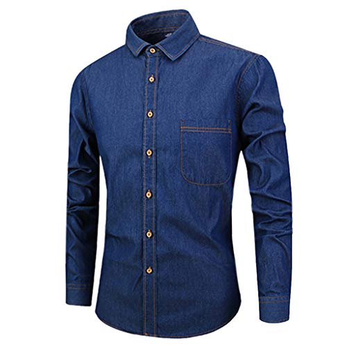 Spring Long Sleeve Shirts Men Pure Color Button Paintinge Casual Top Dark Blue]()