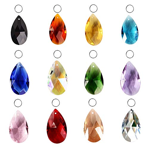 SunAngel Teardrop Glass Beads for Jewelry Crystal Glass Pendants Suncatchers Chandelier Prism Parts Beads for Decoration Party Christmas Wedding (12PCS Crystal Grid Shape)