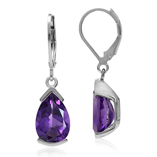 4.14ct Natural African Amethyst White Gold Plated 925 Sterling Silver Drop Dangle Leverback Earrings