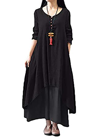 3ad18ac9c79 Sobrisah Women Long Sleeve Cotton Casual Loose Plus Size Irregular Long  Dresses Black Tag M-