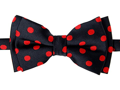 Retreez Classic Polka Dots Woven Microfiber Pre-tied Boy's Bow Tie - Black with Red Dots - 8-10 years ()