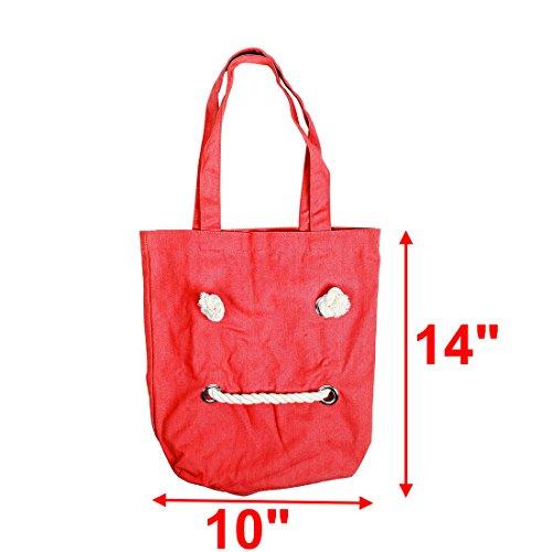 De De map Bolsa Para Diseño Lona De Sonrisas Rojo Hombro Viajes Libros sourcing Soporte Solo Portátil De TqBwpx