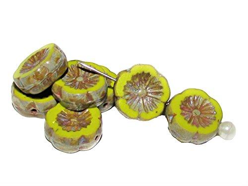 6pcs Czech Glass Beads Table Cut Flower 12 mm Olivine Travertine