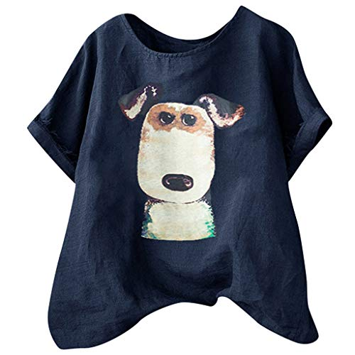 (Tantisy ♣↭♣ Women's Plus Size Fun Dog Short Sleeve Print Shirt Summer Comfy Breathable Flax Blouse Ladies Basic Tops Navy)