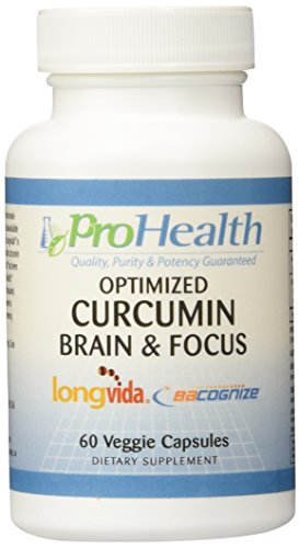 Brain Focus – Optimized Curcumin Longvida with BaCognize Bacopa Monnieri by ProHealth 60 veggie capsules
