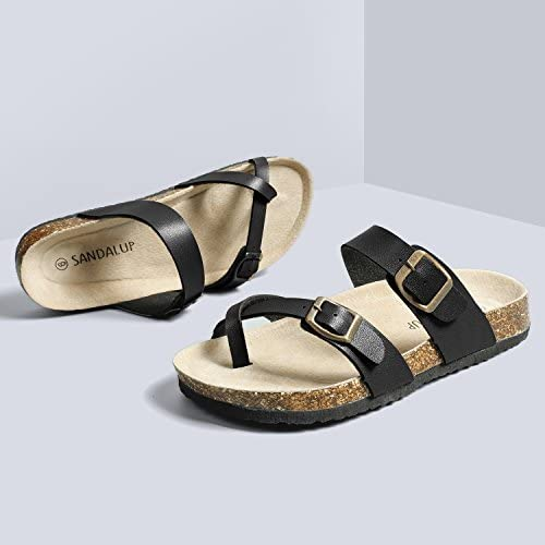 SANDALUP Soft Ring Toe Flip Flop Flat Cork Sandals for Women