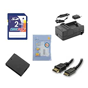 Panasonic LUMIX DMC-SZ1 Digital Camera Accessory Kit includes: ACD341 Battery, PT71 Charger, KSD2GB Memory Card, ZELCKSG Care & Cleaning, HDMI3FM AV & HDMI Cable