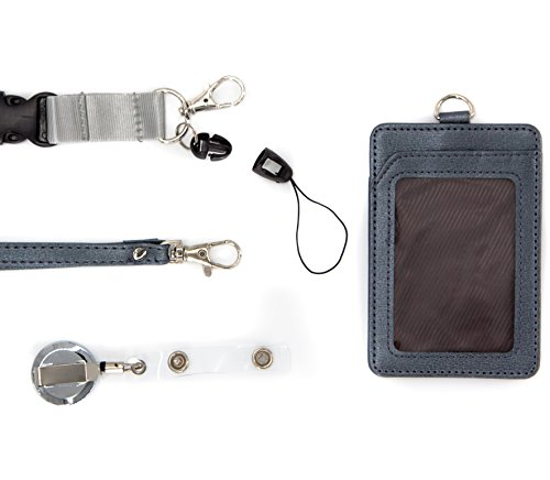 4 in 1 Leather ID Badge Holder with Retractable Reel, Lanyard Clip and Leather Necklace Strap - Double Sided, Two Back pocket - Carries: ID, Credit Card, Keychain, Money Wallet and Phone - Silver Grey (Beaded Id Badge Card Holder)