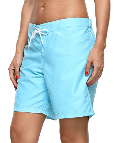 ALove Women's Loose Fit Swim Shorts Quick Drying Boardshorts Swimsuits Bottom Blue Medium by ALove (Image #1)