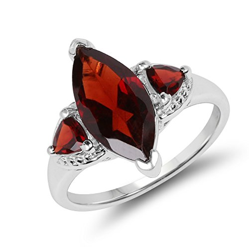 - 3.60 ct Genuine Garnet 925 Sterling Silver Marquise&Trillion Cut Engagement Ring