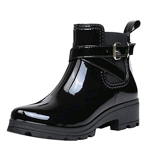 ANJUNIE Women's Short Boots Rain Footwear Non-Slip Elastic Band Booties Water Shoes
