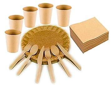 Cubertería Vajilla de madera desechable: Pack 175 pcs: 25 Platos, 25 Vasos Kraft