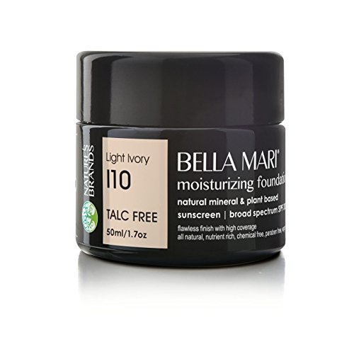 Bella Mari Natural Moisturizing Foundation, Light Ivory (I10); 1.7floz Glass The Natural Moisturizing Foundation