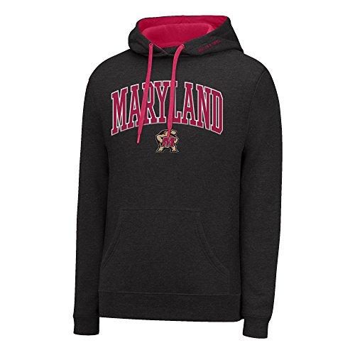 (J America NCAA Maryland Terrapins Men's Single Dye Arched School Name Twill Hoodie, Medium, Black HTR/Red)