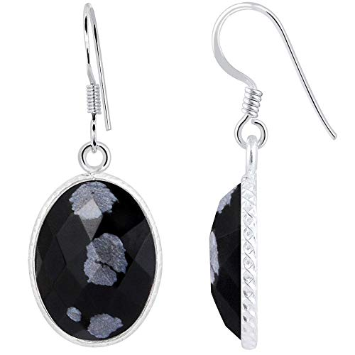 12.5 Ct Snowflake Obsidian 925 Sterling Silver Gemstone Earrings