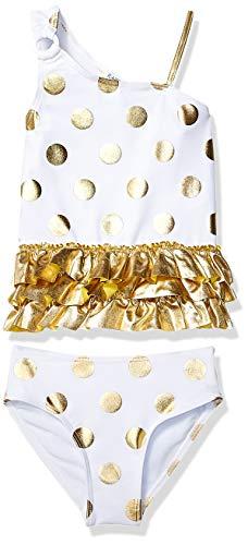 Flapdoodles Toddler Girls' Foil Gold dot 2 Piece Tankini, White, 3T ()