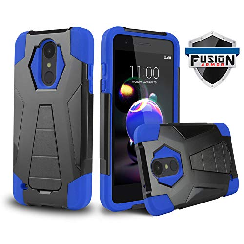 (Phone Case for [LG Optimus Zone 4 (Verizon Wireless)], [Fusion Series][Blue] Shockproof Hard Plastic Silicone Rubber Gel Cover with [Built-in Kickstand] for LG Optimus Zone 4 (Verizon Wireless))