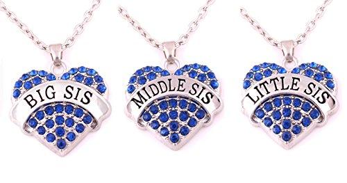 Charm.L Grace Matching Necklaces Set, blue-3pcs Heart Set Charms