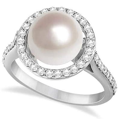 22ae15044a21 Anillo de perlas cultivadas en agua dulce y halo de diamantes en oro blanco  de 14 k (9.50-10 mm)