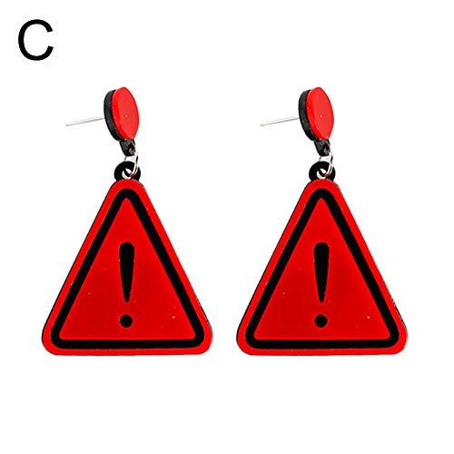- Fashion Earrings, gLoaSublim Women Funny Punctuation Mark Triangle Pendant Acrylic Geometric Stud Earrings - Red