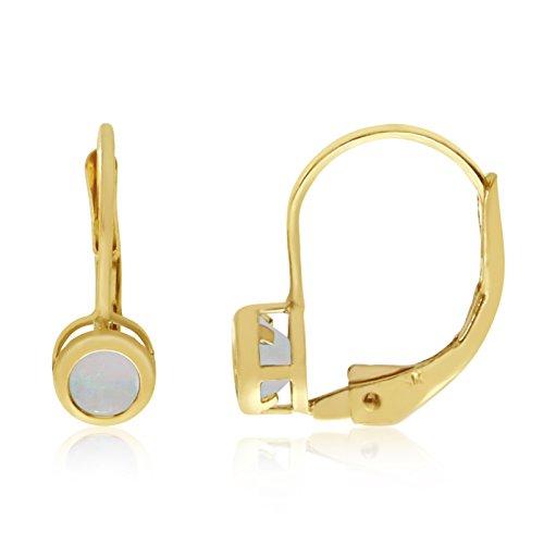 Jewels By Lux 14k Yellow Gold Studs Genuine Birthstone 4mm Opal Bezel Leverback Earrings (1/6 ()